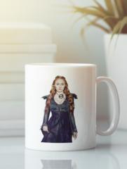 Кружка с рисунком Игра престолов, Санса Старк (Game of Thrones, Sansa Stark) белая 007