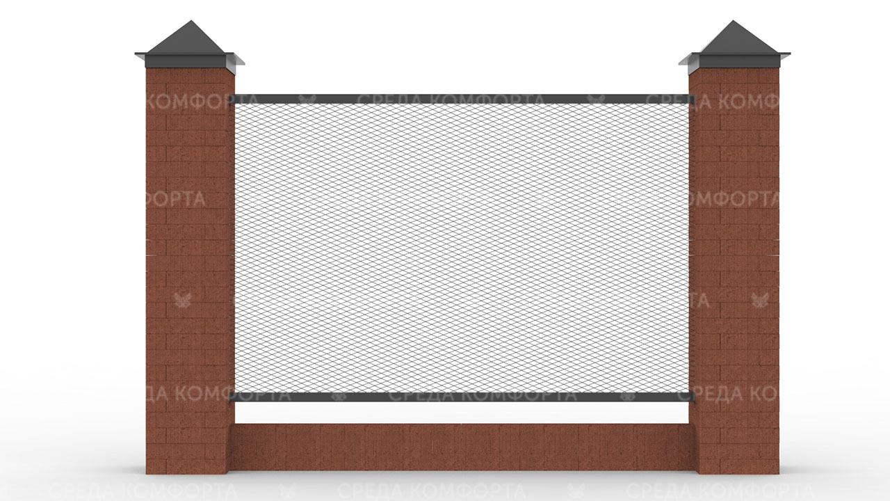Забор из сетки рабицы 2500х2000 мм ZBR0174