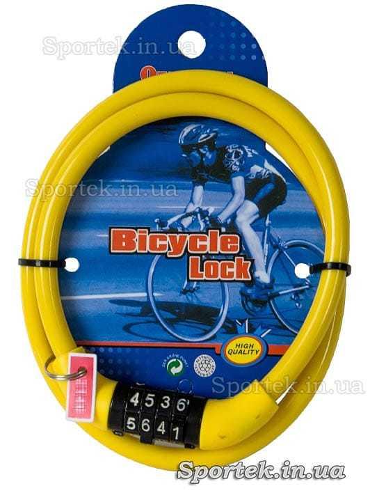 Велозамок с кодовым замком на стальном тросе 8 х 650 мм с желтым виниловым покрытием