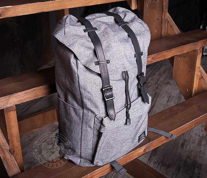 BAG404-3 Стильный мужской городской рюкзак из ткани серого цвета фото 04