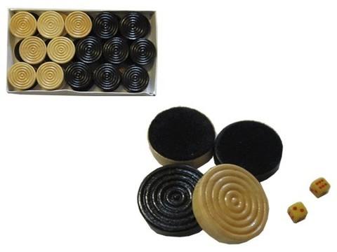 Набор игровых  фишек и кубиков. Материал: фишки - дерево, ткань; кубики - пластик. :(7800)