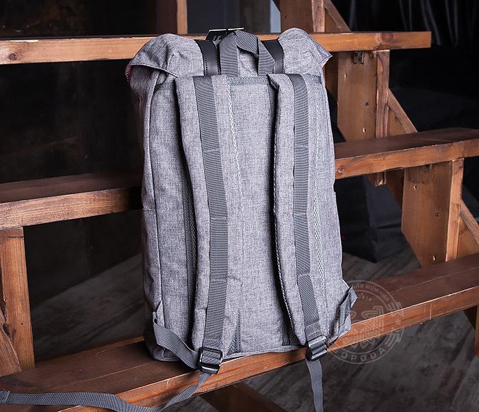 BAG404-3 Стильный мужской городской рюкзак из ткани серого цвета фото 05
