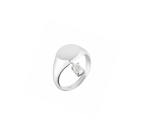 Кольцо-печатка с белым топазом