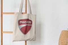 Сумка-шоппер с принтом Ducati (Дукати) бежевая 007