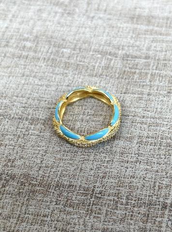 Кольцо Ширитам голубое, позолота