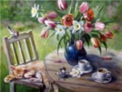 Картина раскраска по номерам 40x50 Чаепитие с животными