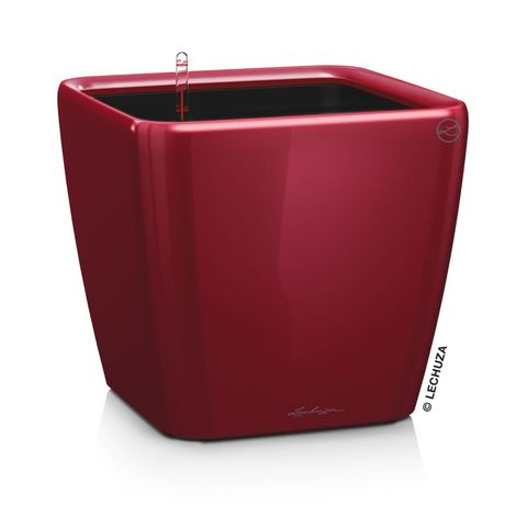 16147 Кашпо LECHUZA Квадро 28 LS Красное с системой полива и съемным горшком