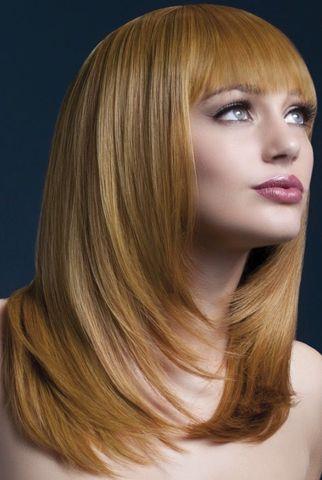Рыжеватый парик со стрижкой лесенкой