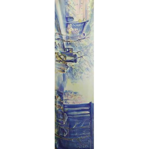 Шелковый шарф батик Зимний Город на рассвете С-57