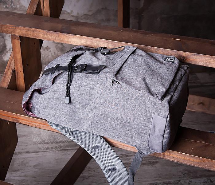 BAG404-3 Стильный мужской городской рюкзак из ткани серого цвета фото 08