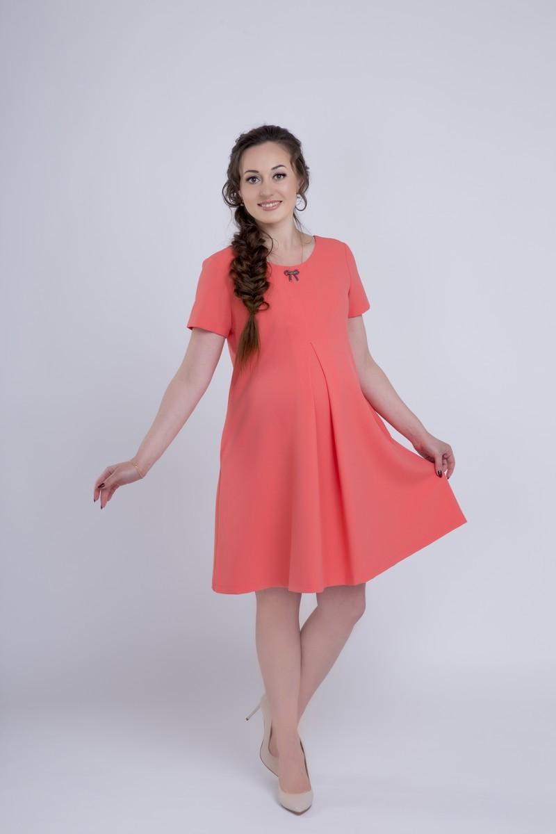Фото платье для беременных Mama i Ja от магазина СкороМама, коралл, розовый, размеры.