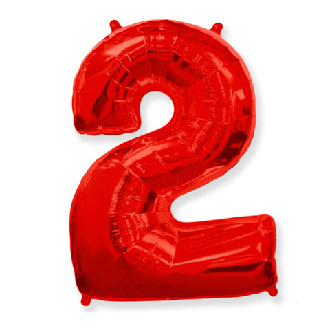 Фольгированная цифра 2, красный