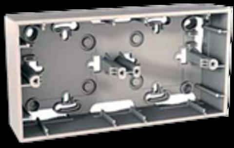 Коробка двойная для открытой установки. Цвет Бежевый. Schneider electric Unica. MGU8.004.25