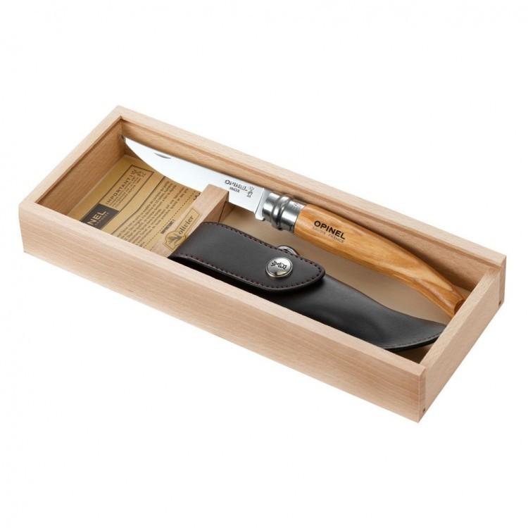 Нож филейный Opinel №10, рукоять оливковое дерево, чехол, футляр