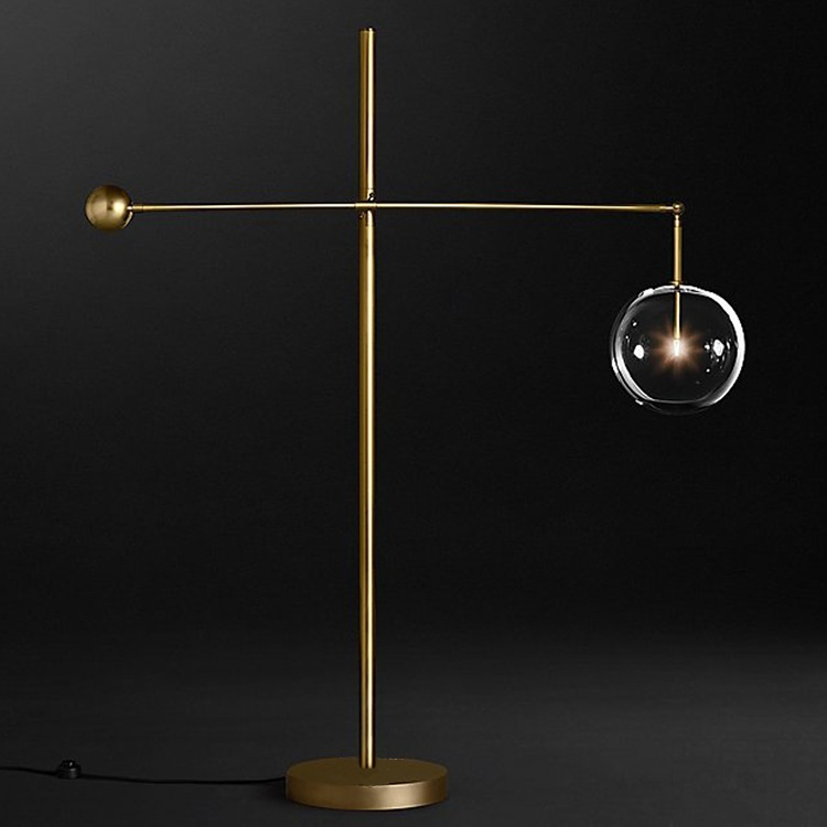 Торшер Glass Globe Mobile Lever Floor Lamp