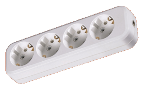 Колодка розеточная 4 гнезда 2П+3 16А 250В белая TDM