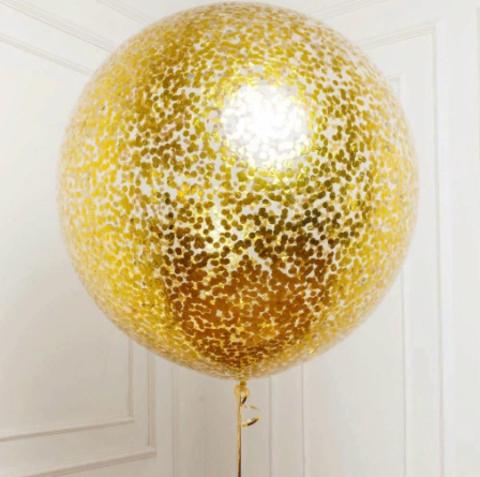 №1 Золото Гелиевый шар с конфетти с обработкой 60См