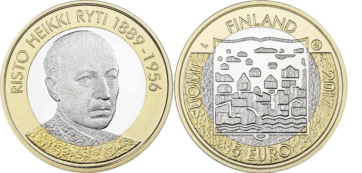 5 евро 2017 Финляндия - Ристо Хейкки Рюти (5-й президент)
