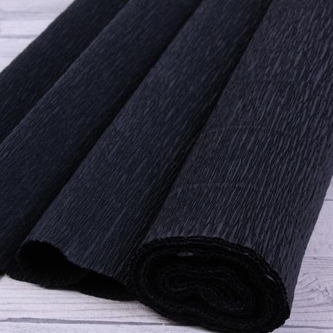 Бумага гофрированная, цвет 902 черный, 140г, 50х250 см, Cartotecnica Rossi (Италия)
