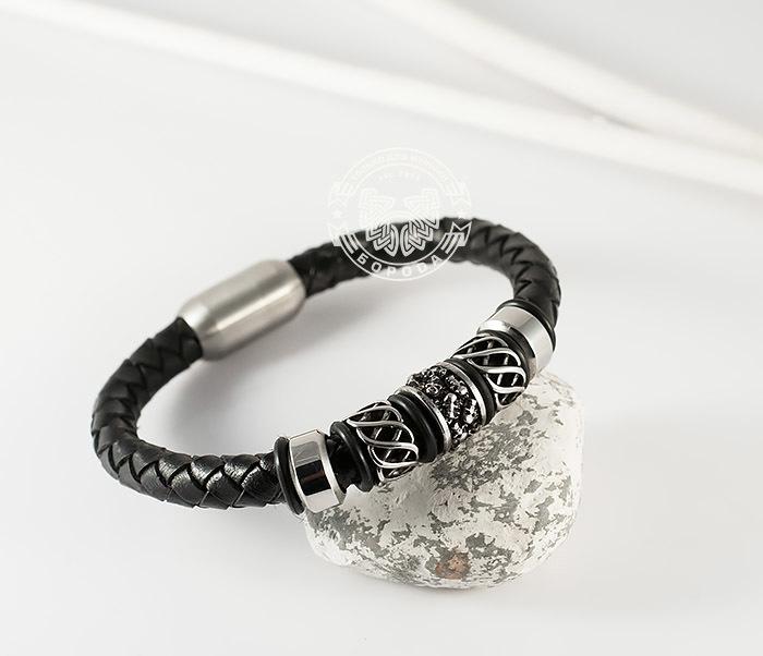 BM370 Мужской браслет из стали и кожаного шнура на магнитной застежке (20 см)