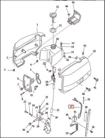 Кнопка аварийной остановки двигателя  для лодочного мотора T2,5 SEA-PRO (1-37)