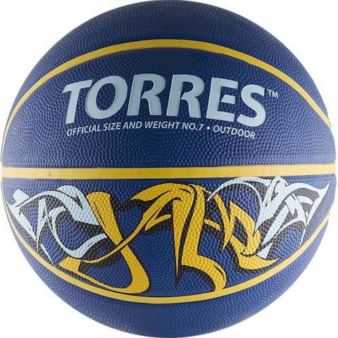 Мяч баск. TORRES Jam р. 7, резина, сине-желт-голубой B00047