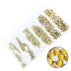 Soline Charms, Набор страз золото ss3-ss10 (1 мм-5 мм), А-8, 1440 шт