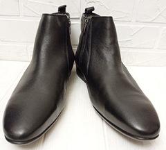 Кожаные ботинки мужские зимние. Черные зимние ботинки на цигейке ETOR 9115  45-й размер