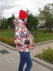 Зимняя куртка для беременных цветочный принт