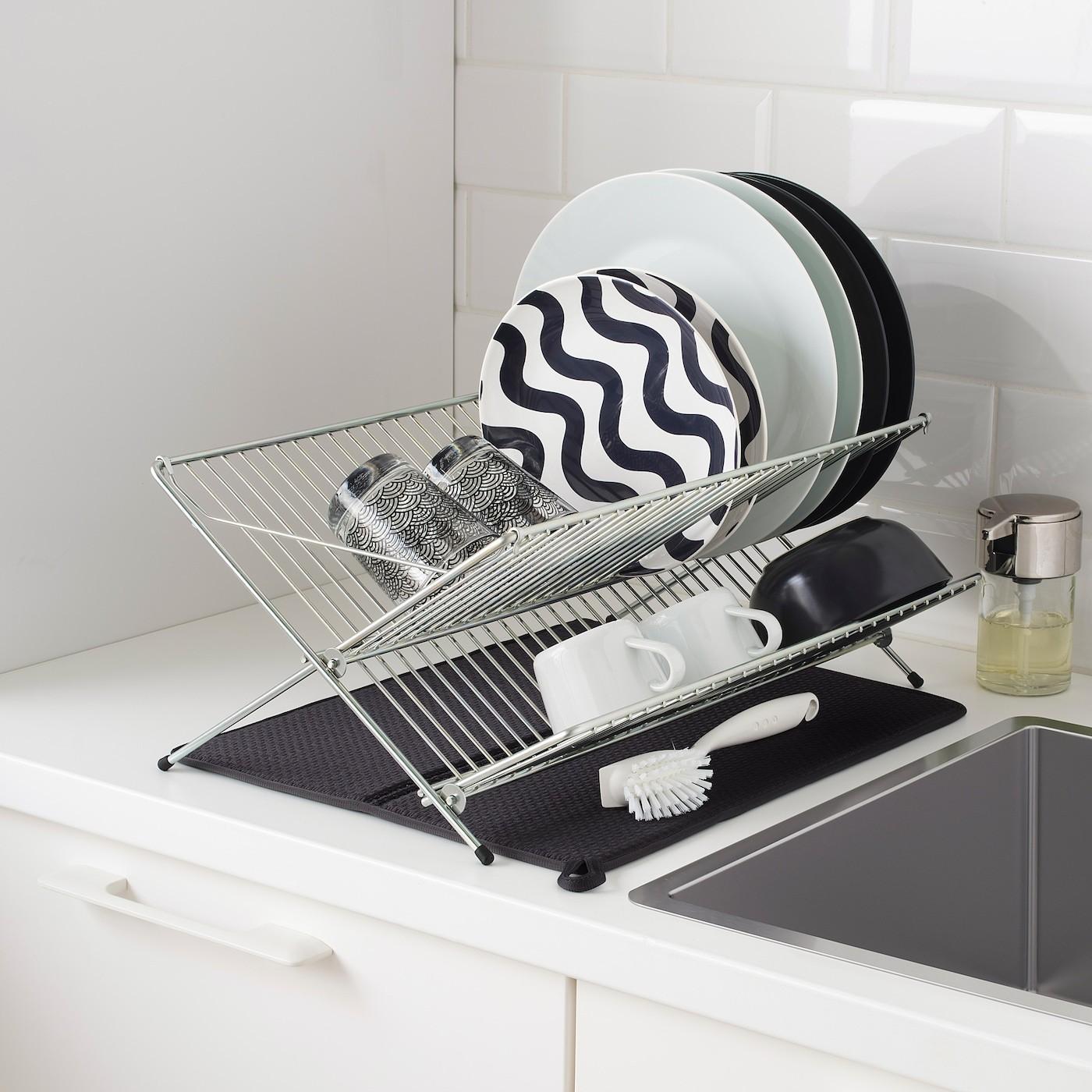НЮХОЛИД Коврик для сушки посуды темно-серый