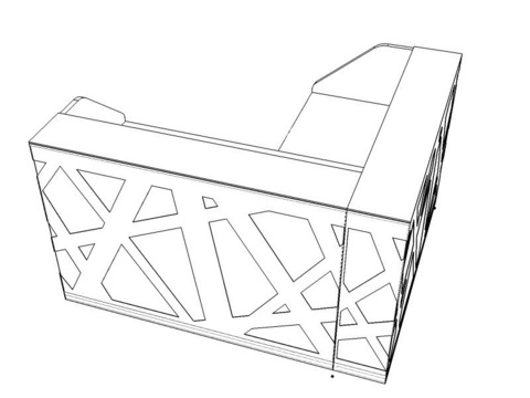 Стойка рецепции угловая с боковыми панелями и LED подсветкой