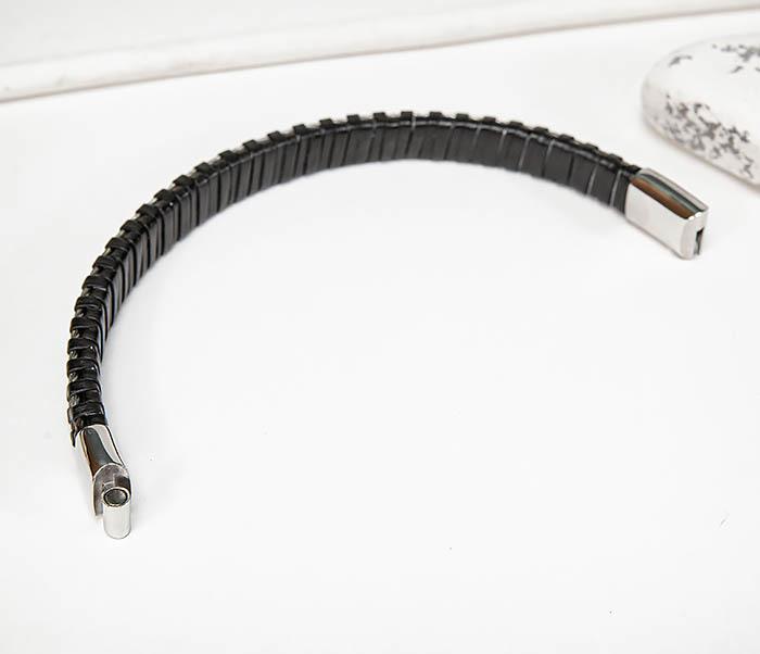 BM569 Браслет из кожи со стальными тросиками фото 05