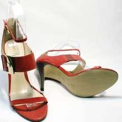 Красивые босоножки на шпильке Via Uno1103-6605 Red.