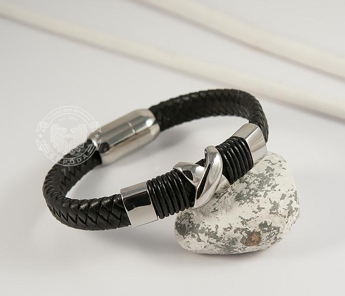 BM372 Стильный мужской браслет из стали и кожаного шнура на застежке с магнитом (21 см)
