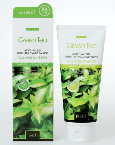 Очищающая пенка с экстрактом зеленого чая Jigott