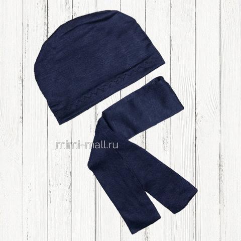 Шапочка и шарф для кота Басика (темно-синий)