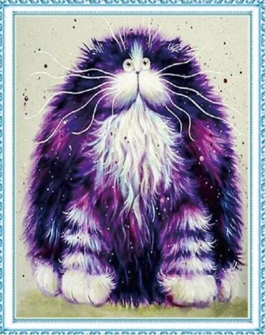 Алмазная Мозаика 50x65 Фиолетовый мультяшный кот