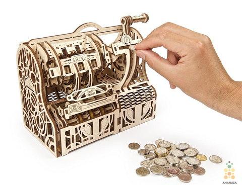 Кассовый аппарат-копилка с кодовым замком от Ugears - сборная деревянная механическая модель, 3D пазл.