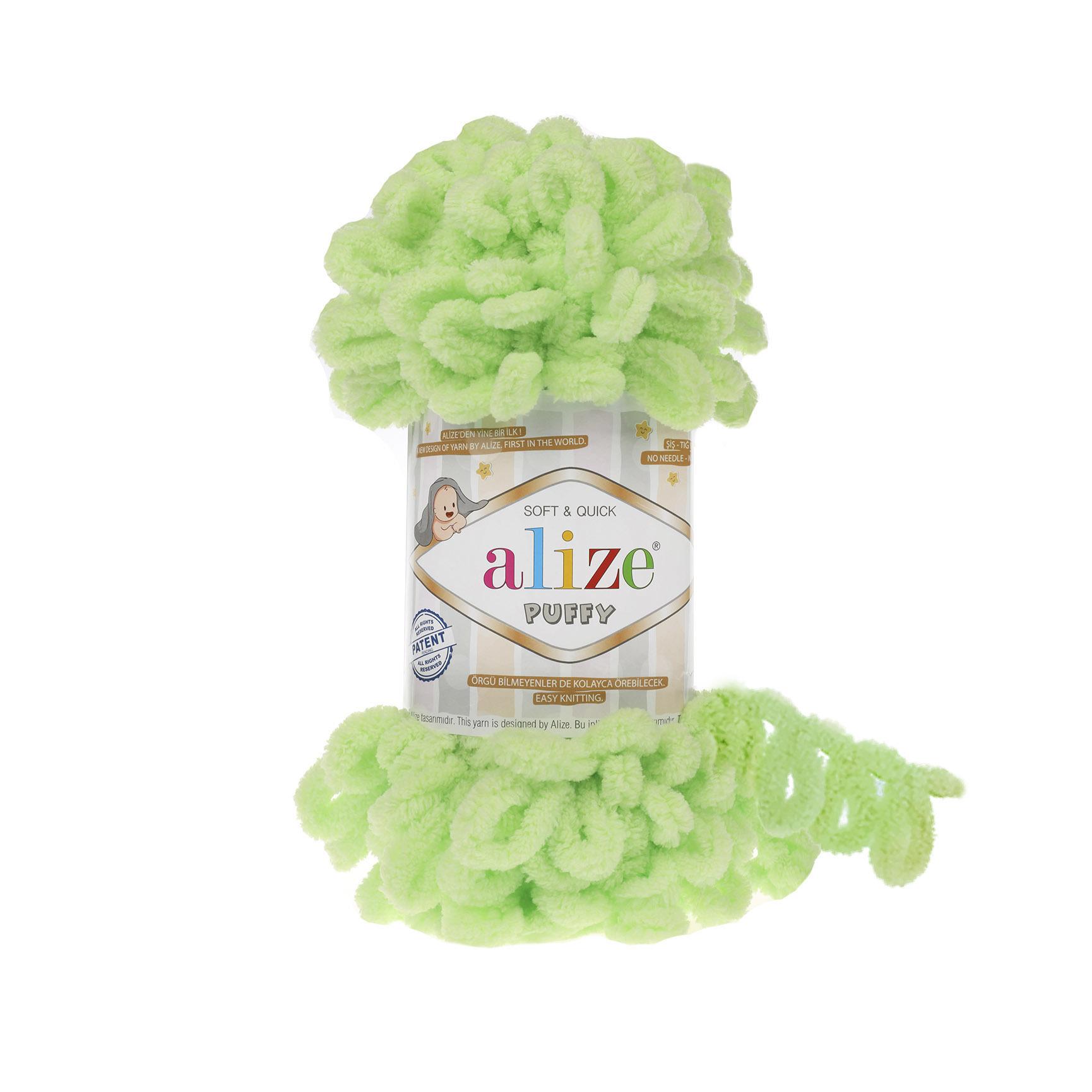 Пряжа Alize Puffy 41 салатный