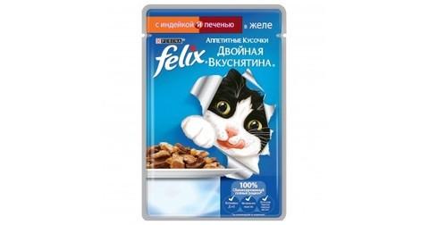 Корм для кошек Felix Двойная Вкуснятина индейка печень 85г