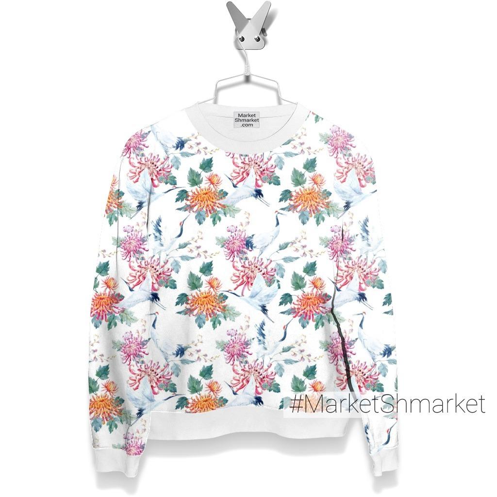Белый журавль и хризантемы