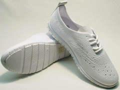 Белые кроссовки на тонкой подошве женские Small Swan NB-821 All White.
