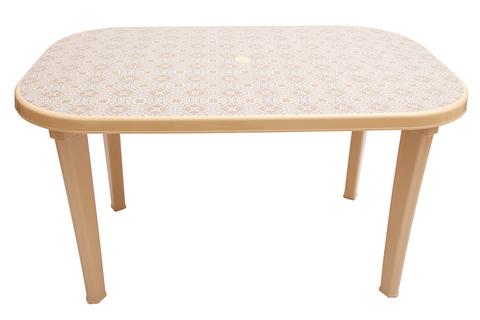 Пластиковый стол овальный с рисунком бежевый