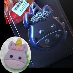 Пластиковая форма для шоколада дет. ЕДИНОРОГ МУЛЬТЯШНЫЙ с розочками  9см