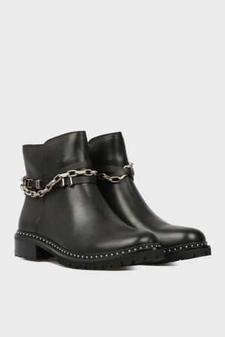 Женские черные кожаные ботинки Preppy