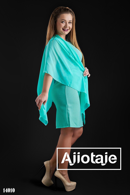 Мятное платье в горошек с шифоновой накидкой