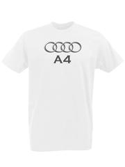 Футболка с принтом Ауди A4 (Audi A4) белая 0001