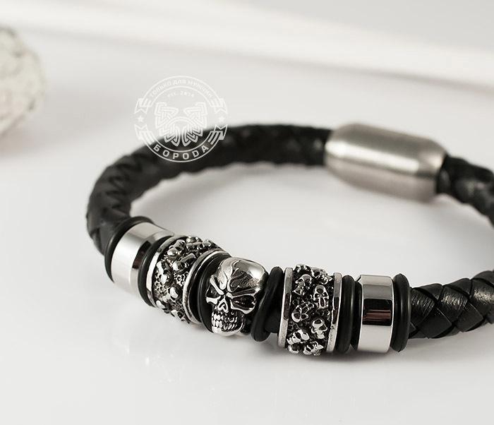 BM373 Мужской браслет с черепом из стали и кожаного шнура, магнитная застежка (21 см)