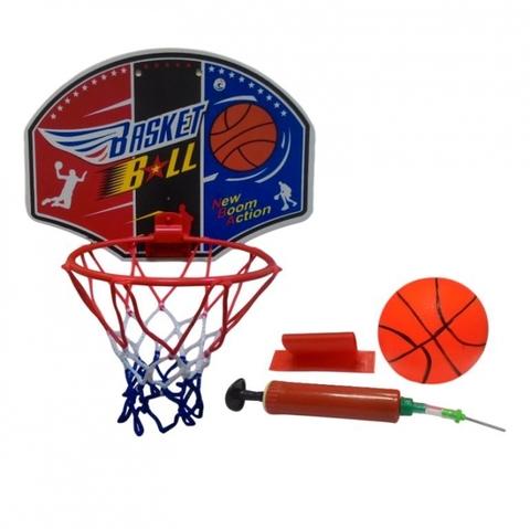 G340 Мини баскетбол (кольцо с сеткой + насос,мяч). Щит срисунком (Рон)