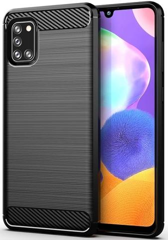 Чехол для Samsung Galaxy A31 черного цвета, серия Carbon от Caseport